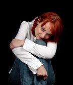 Lachende vrouw rood haar — Stockfoto