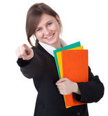 Businesswoman with colorful folders — Stock Photo