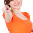 Young woman pointing - Stockfoto