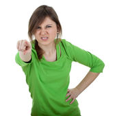 Furious young woman pointing — Stock Photo