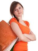 Mädchen mit einkaufstüten — Stockfoto