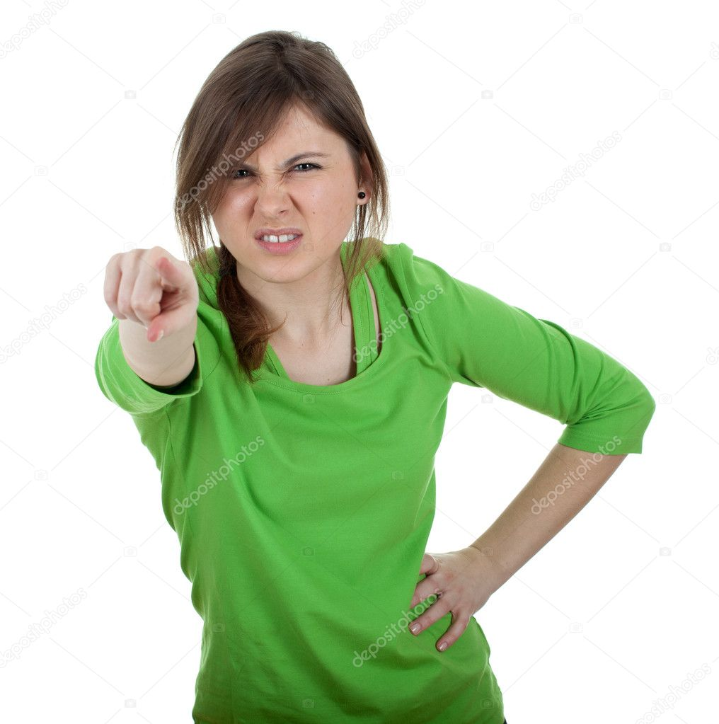 Furious young woman with long hair pointing you — Stock Photo #5319434