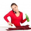 Drunk smoking ironing woman calling - Stock Photo