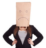 Woman in sad paper head, series — Stock Photo