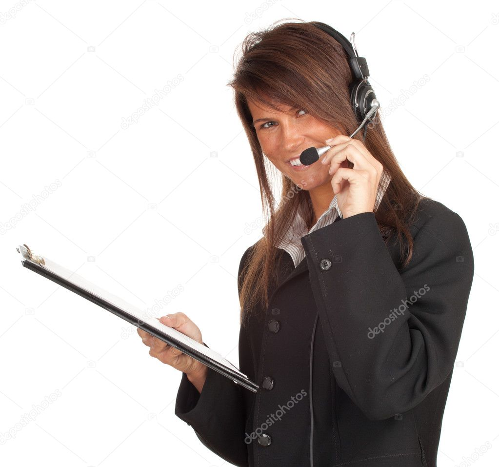Happy young customer service operator girl wearing headset keeping clipboard — Photo #5365950