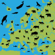 animales de Europa — Vector de stock