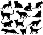 Silhouettes of cats — Stockvektor