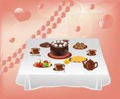 お菓子とテーブル — ストックベクタ