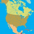 Stock Vector: Political map of North America