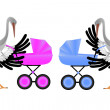 Stork with pram — Stock Vector