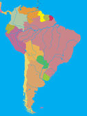 Political map of South America — Stockvektor