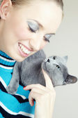 Pampering cat — Stock Photo