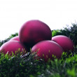 Claret christmas balls and green decoration — Stock Photo