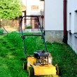 Mower on the green lawn — Stock Photo