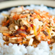 Chinese food chicken with vegetables and rice — Stock Photo