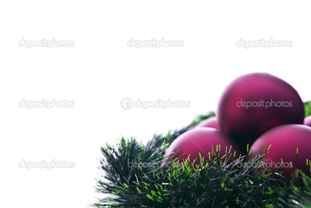 Claret christmas balls and green decoration — Stock Photo #4227684