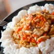 Chinese food chicken with vegetables and rice - Stock Photo