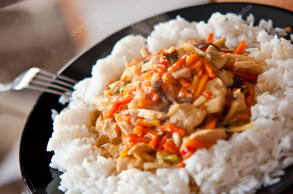Chinese food chicken with vegetables and rice — Stock Photo #4297650
