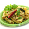 Tortiglione with fiery chili and zucchini - ストック写真