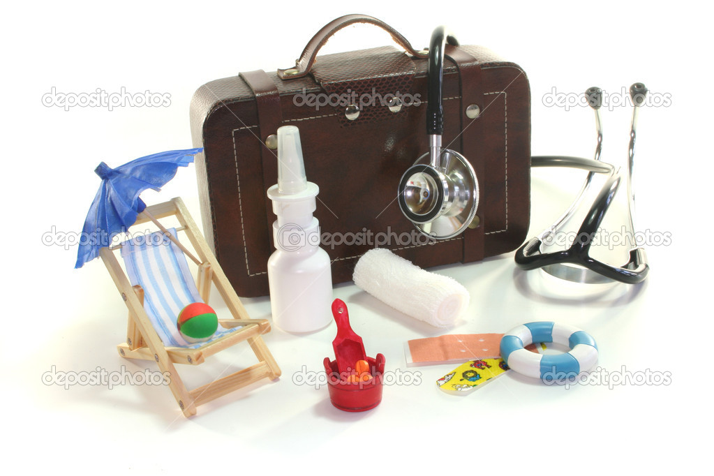 First aid kit with Bags, Stethoscope and medicines  Stock Photo #4177771