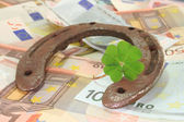 Horseshoe with clover and Euro — Stock Photo
