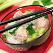 Rice soup with meat balls — Stock Photo #4941506