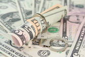 Dollar bills with handcuffs — Stock Photo