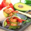 Stock Photo: King Prawn - Avocado Wrap