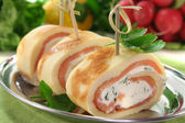 Pancakes with salmon and cream cheese — Stock Photo