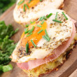 Hash browns with fried egg — Stock Photo