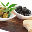 Stock Photo: Black and green olives