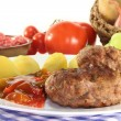 Meatball with ratatouille - Stock Photo