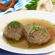 Liver dumpling soup — Stock Photo