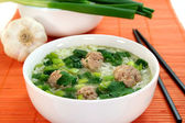 Rice soup with meat balls — Stock Photo