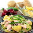 Wild garlic potato salad — Stock Photo