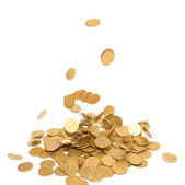 Rain of golden coins — Stock Photo