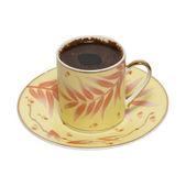 Xícara de café com pires isolado no branco. — Foto Stock