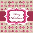 Royalty-Free Stock Векторное изображение: Pink Christmas background with retro frame