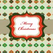 Elegant Christmas background with retro frame - Stock Vector