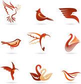 Různé ptáky ikony — Stock vektor