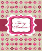 Pink Christmas background with retro frame — Stock Vector