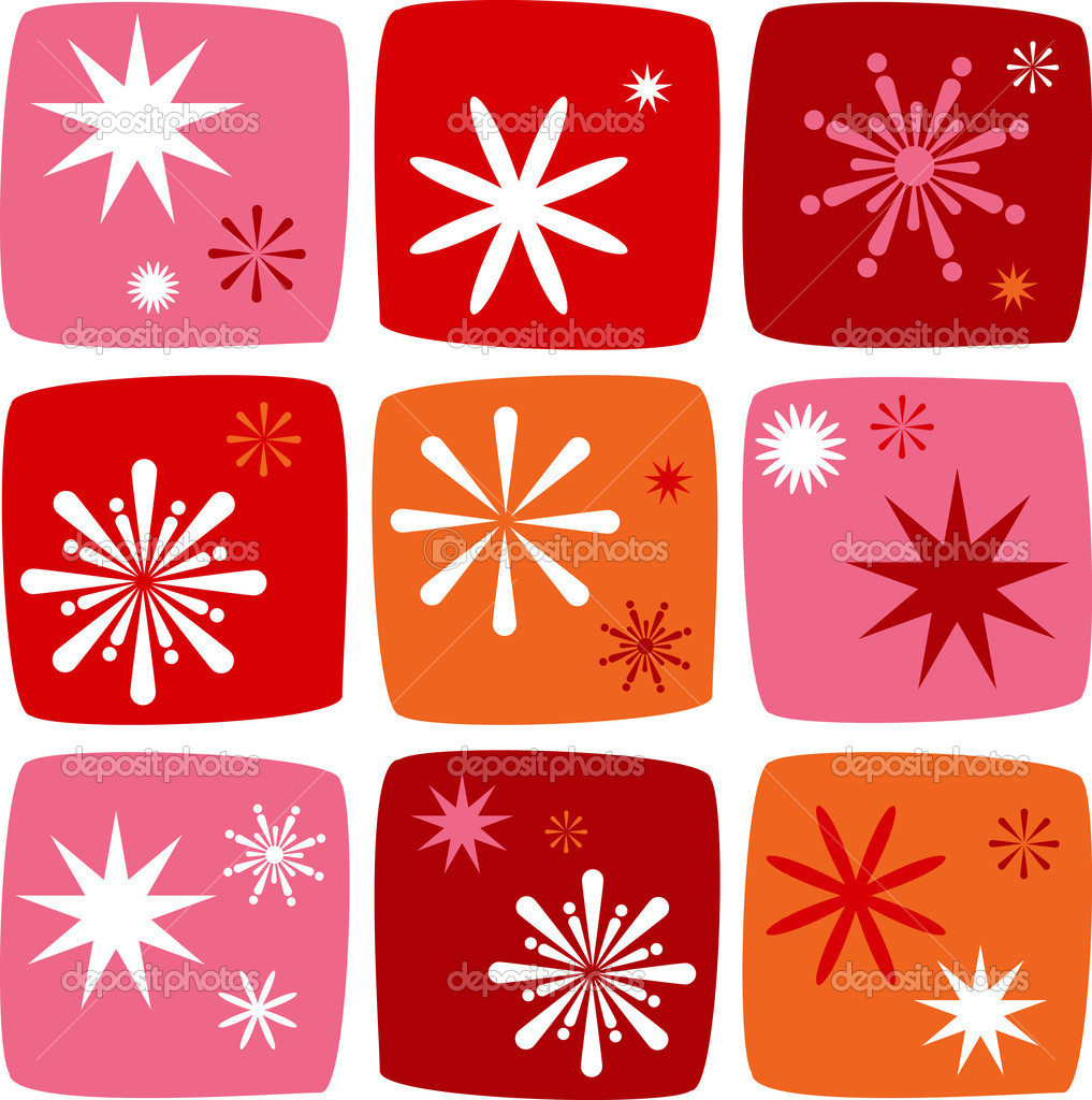 Christmas Icons set with salutes, stars and sparklers — Stock Vector #3965357