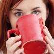 Beautiful lady is drinking coffee — Stock Photo