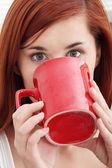 Bella dama está bebiendo café — Foto de Stock