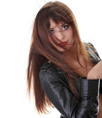 Young woman in leather jacket — Stock Photo