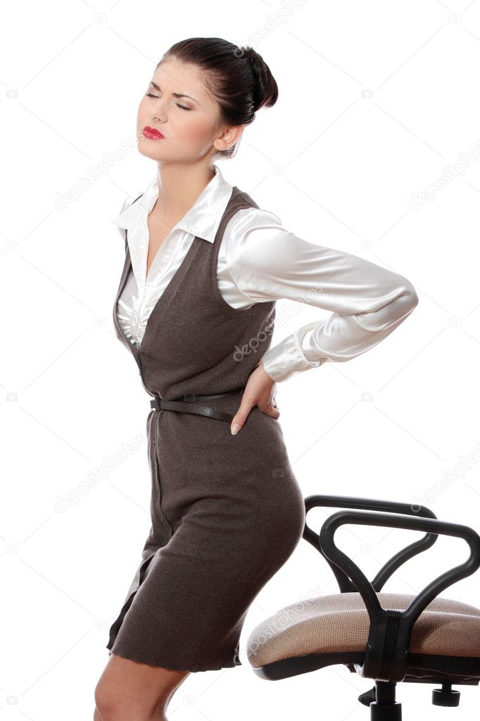 Business woman with back pain after long work on chair. Isolated on white background — Stock Photo #3999652