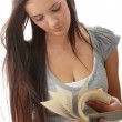 Young teen student woman reading a book — Stock Photo #4820972