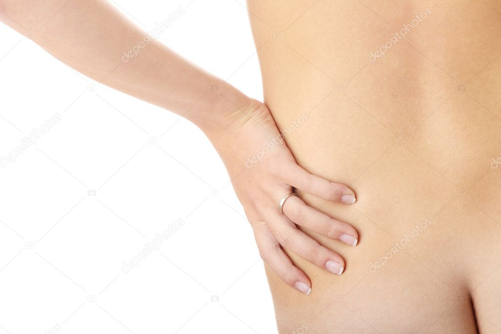 Nude woman from behind. Back pain concept. Isolated — Stock Photo #4821009