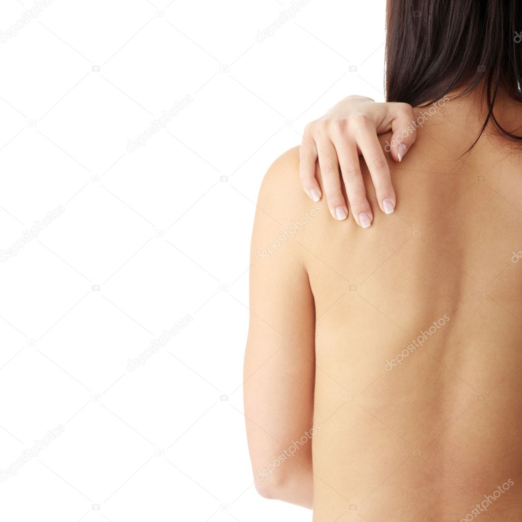 Nude woman from behind. Back pain concept. Isolated — Stock Photo #4821012