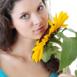 Beautiful girl with sunflower — Stock Photo #4831767